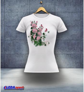 Koszulka damska biała Kwiaty