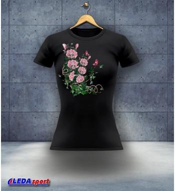 Koszulka damska czarna Kwiaty