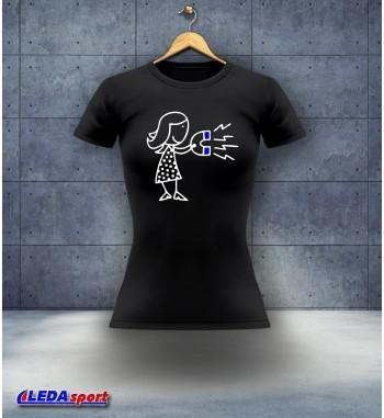 Koszulka damska czarna Magnes Ona