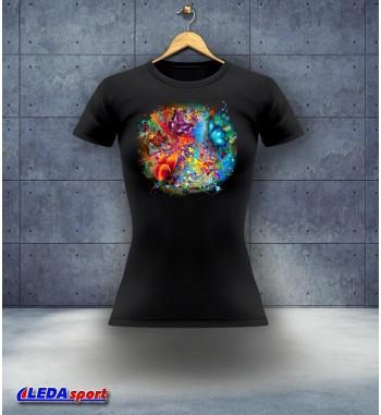 Koszulka damska czarna Motylki
